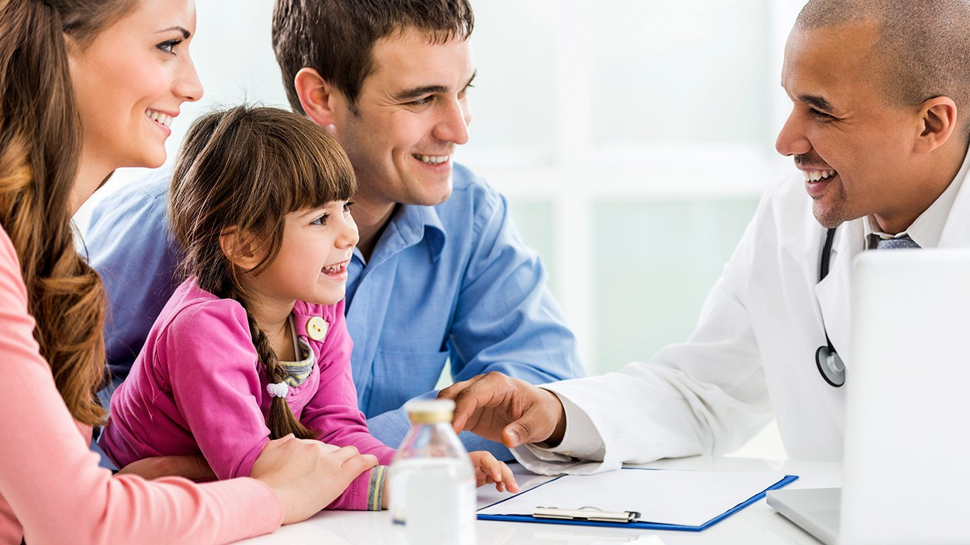 Happy father and mother with doctor meeting a doctor for consultation